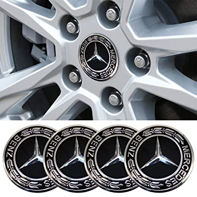 4 x 56.5mm Car Lettering BBS Wheel Center Cap Sticker Wheel Emblem Badge Logo Stickers (fit Benz Black): Automotive