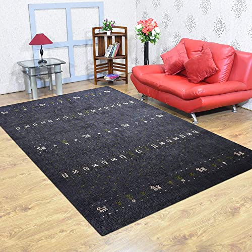 Rugsotic Carpets Hand Knotted Gabbeh Silk Mix 9'x12' Area Rug Contemporary Charcoal LSM585