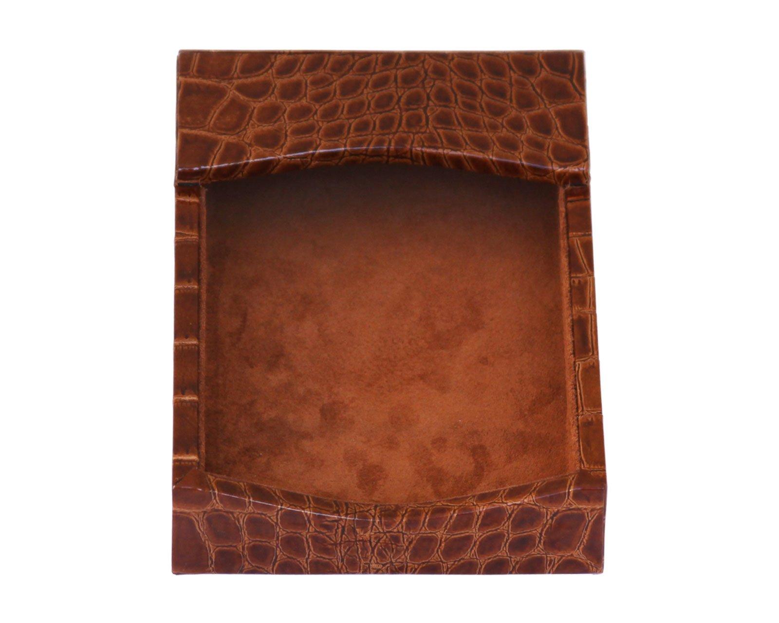 Dacasso Protacini Cognac Brown Italian Patent Leather 4'' x 6'' Memo Holder