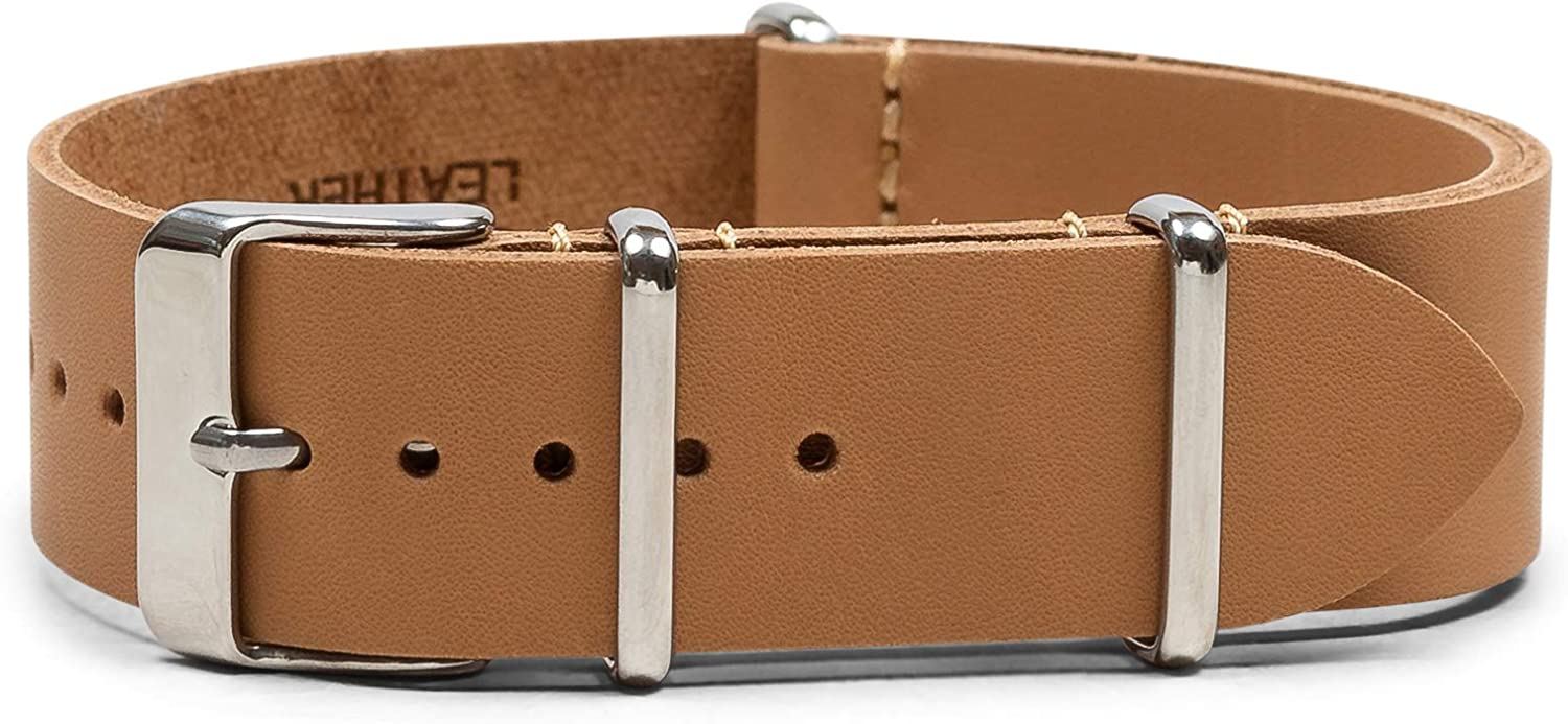 Benchmark Basics Leather Watch Band - Crazy Horse Oiled Leather One-Piece Watch Straps for Men & Women - Choice of Color & Width - 18mm, 20mm, 22mm or 24mm