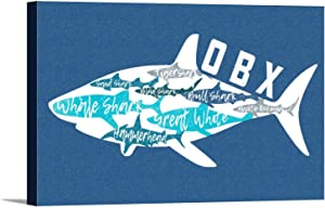 Outer Banks, North Carolina - Sharks - Pattern - Shark Names - Contour Press Artwor 106970 (36x24 Gallery Wrapped Stretched Canvas)