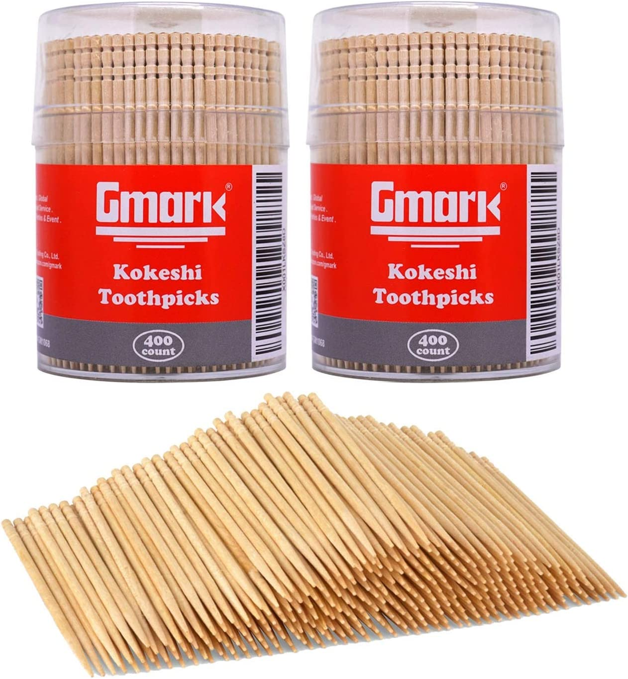 """Gmark Wooden Toothpicks 800 Pieces Ornate Handle, Cocktail Safe Use Sturdy Round Holder 2 Packs of 400, 2.6"""" Kokeshi Toothpicks - Japanese Style, Party Appetizer Olive Fruit Teeth Cleaning GM1068"""