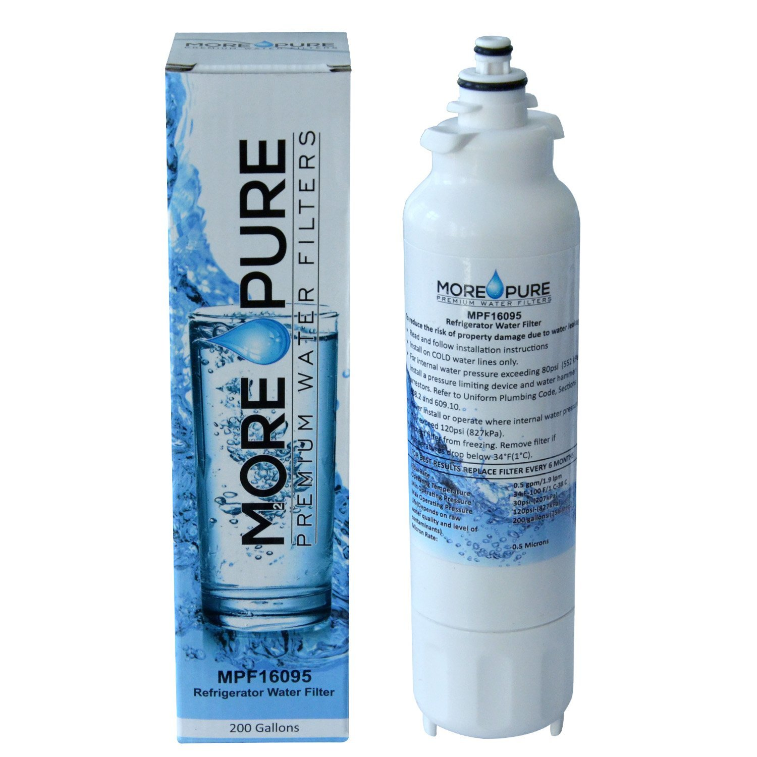 MORE Pure MPF16095 Refrigerator Water Filter Compatible with LG LT800P and Kenmore 46-9460 by MORE Pure Filters (Image #1)