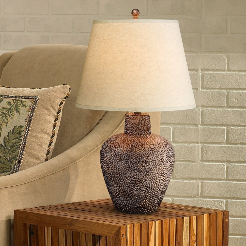 Bentley brown leaf hammered pot table lamp amazon aloadofball Image collections