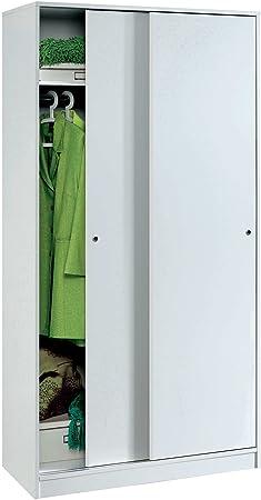 Armario Color Blanco Brillo, 2 Puertas correderas Regulables, altillo y Barra Interior incluida de Dormitorio. 200cm Alto x 100cm Ancho x 55cm Fondo: Amazon.es: Hogar
