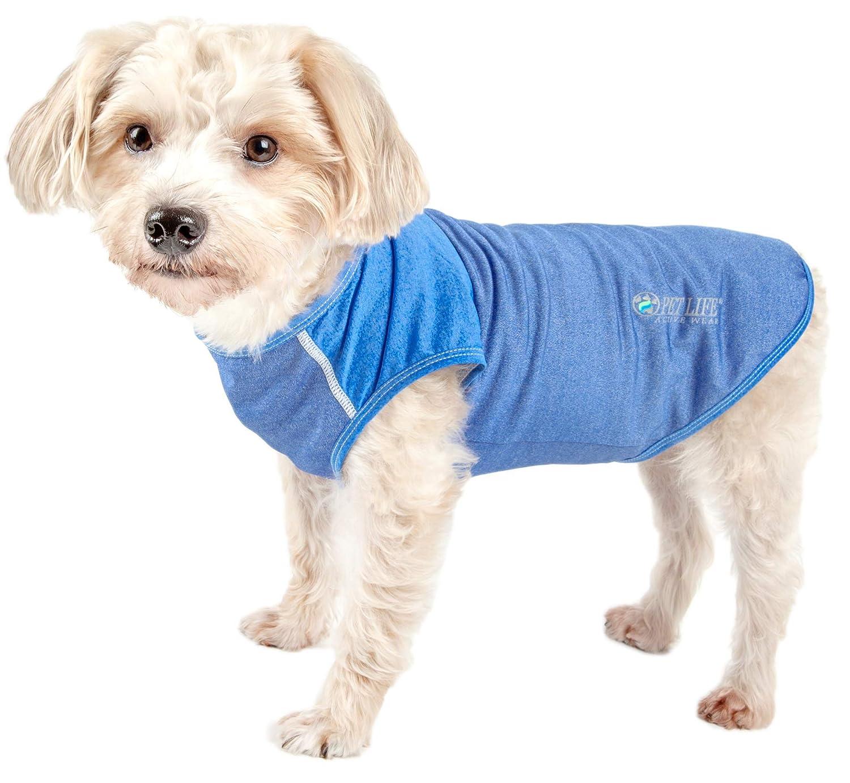 bluee X-small bluee X-small Pet Life 'Aero-Pawlse' Heathered Quick-Dry and 4-Way Stretch-Performance Dog Tank Top T-Shirt, X-Small, bluee