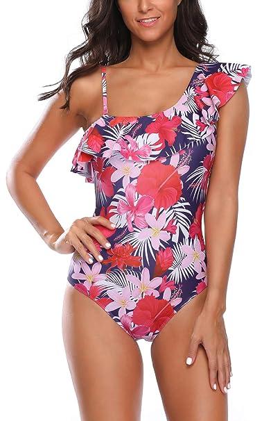 92f3ee10c7004 Assivia Womens One Piece Swimsuit Swimwear Halter Bikinis Monokinis  Backless Bathing Suit (12035Red, S