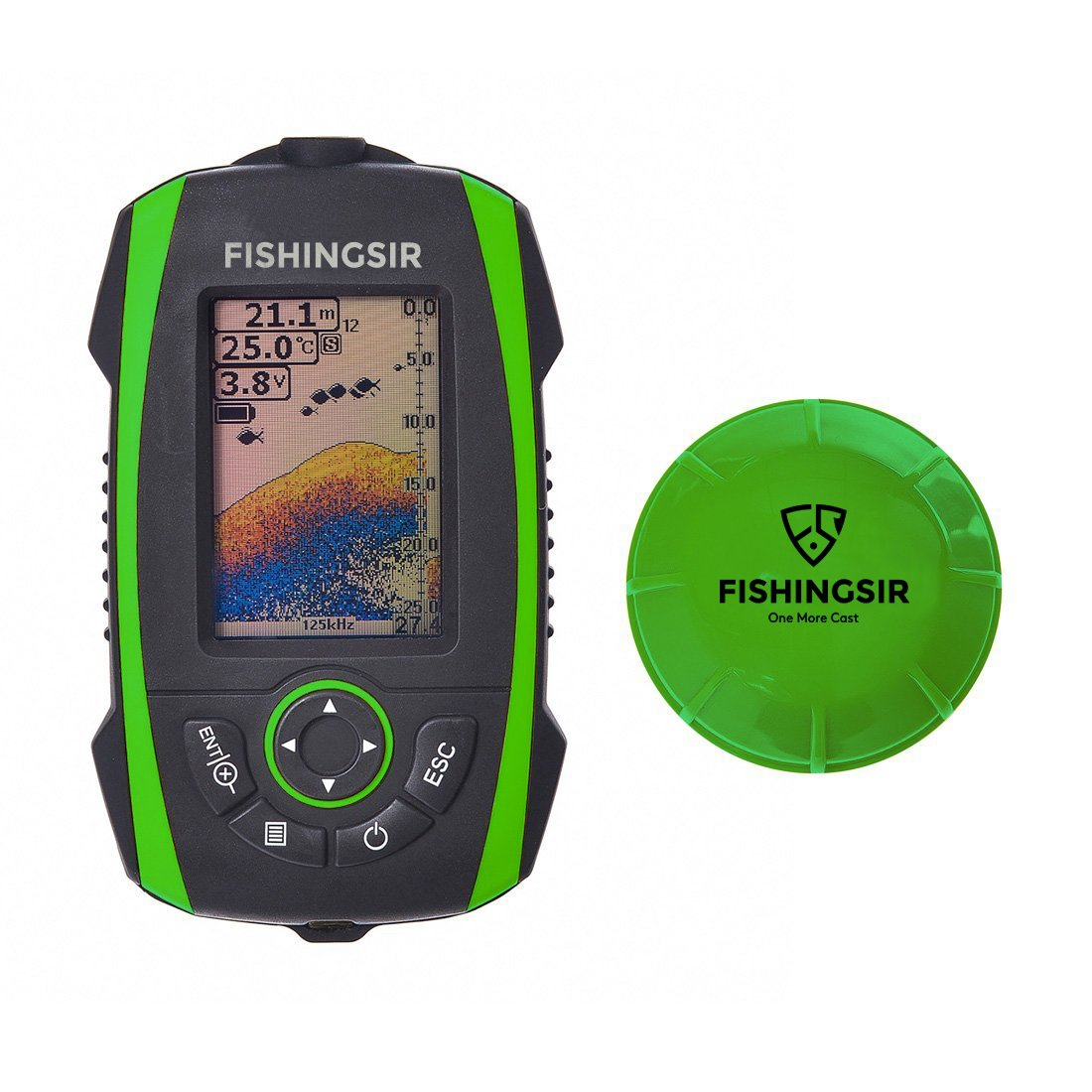 FISHINGSIR Wireless Portable Fish Finder Depth Finder Fishfinder with Sonar Sensor Transducer and 100M LCD colors Display