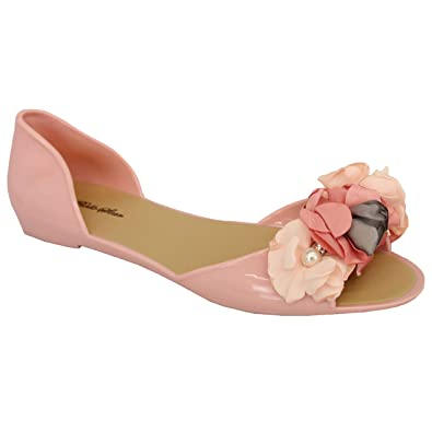 76943f98b Ladies Flat Sandals Womens Slip On Open Toe Floral Pearl Diamante Casual  Shoes  Amazon.co.uk  Shoes   Bags