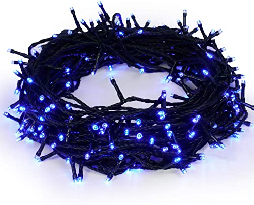 Christmas String Lights Outdoor Indoor 22m 72ft 220 LEDs 8 Modes Memory Function Decoration Waterproof End to End Plug in 30V Fairy Light for Home Party Wedding UL588 Approved Blue