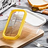 Homeditor Plastic Butter Dish with Slicer for Easy Cutting, BPA Free Butter Box with Lid for Fridge, 2 in 1 Clear Butter Container and Storage, Suitable for 8 oz or Two 4 oz Sticks Butter