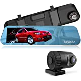 "KDLINKS R100 Ultra HD 1296P Front + 1080P Rear 280° Wide Angle Anti-Glare Rearview Mirror Dual Lens Dash Cam IPS 5"" Screen, Superior Night Mode, Advanced Dashcam Parking Mode, Support 64/128GB"