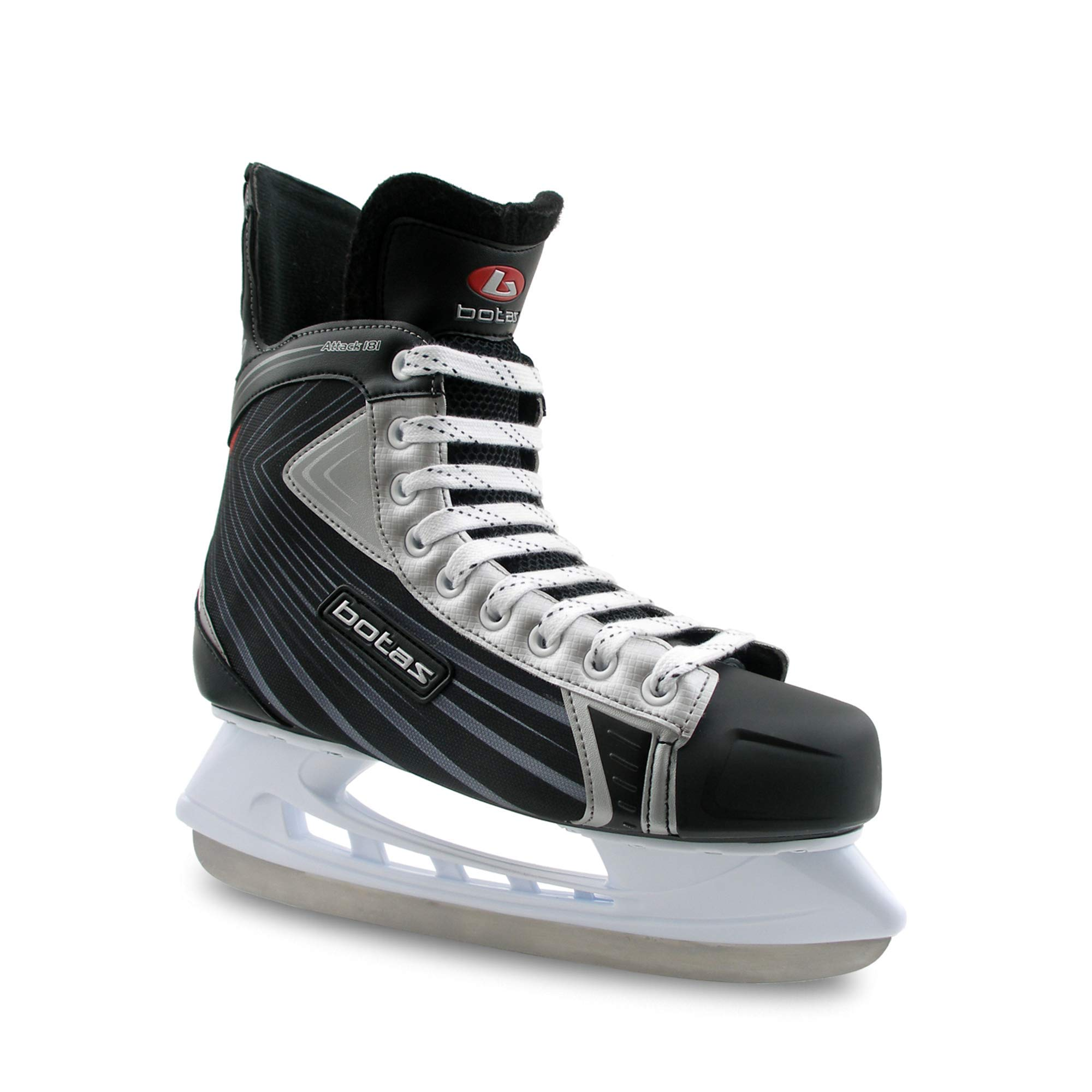 Botas - Attack 181 - Men's Ice Hockey Skates | Made in Europe (Czech Republic) | Color: Black with Silver, Adult 4