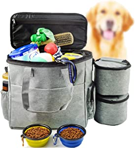 Dog Travel Bag Airline Approved Travel Set for Dogs of Stores All Your Dog Accessories - Includes Travel Bag, 2X Food Storage Containers and 2X Collapsible Dog Bowls (Grey)