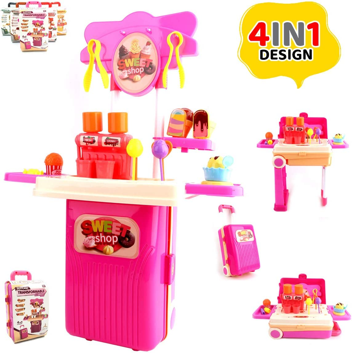 coolitoys 4-in-1 Travel Luggage Turn into Play Sweet Candy Factory Set, Kids Playset Suitcase Toys with 19+Play Food for Toddlers, Girls and Boys, Pretend Play, 21