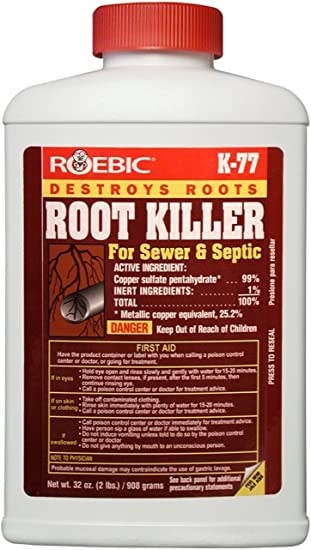 Roebic K-77 Root Killer for Sewer and Septic Systems, Clears Pipes and Stops New Growth, Safe for All Plumbing, 32 Ounces