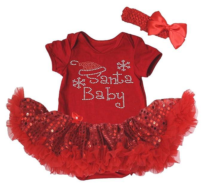 Vestido de Navidad para Papá Noel bebé rojo body de tutú de lentejuelas juego de Pelele, Jersey y nb-18 m: Amazon.es: Ropa y accesorios