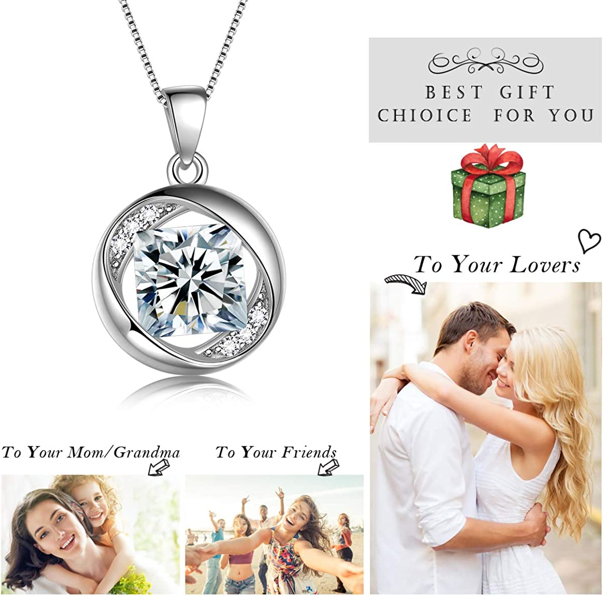 Aurora Tears Jewellery Collier Pierre de Naissance Pendentif en Argent Sterling 925 avec cha/îne 18