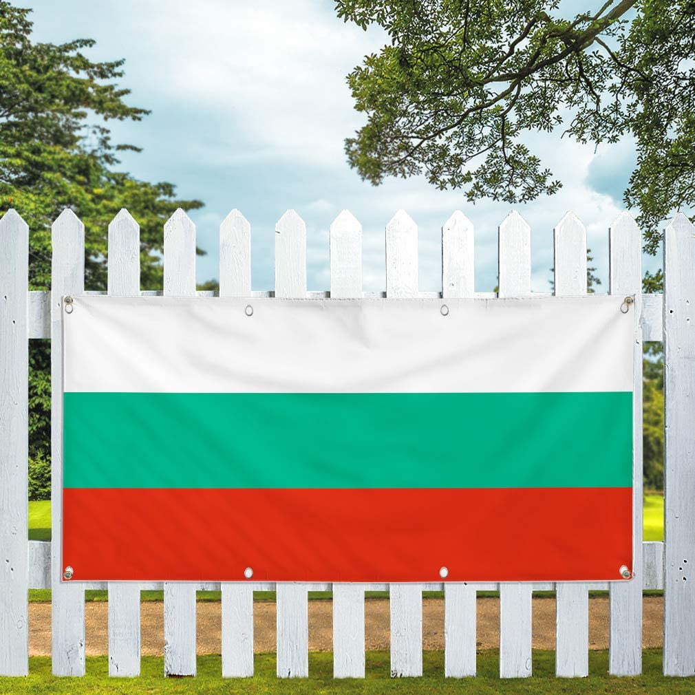 4 Grommets Vinyl Banner Sign Bulguria Flag White Green Red Countries Marketing Advertising Green 28inx70in Multiple Sizes Available Set of 2