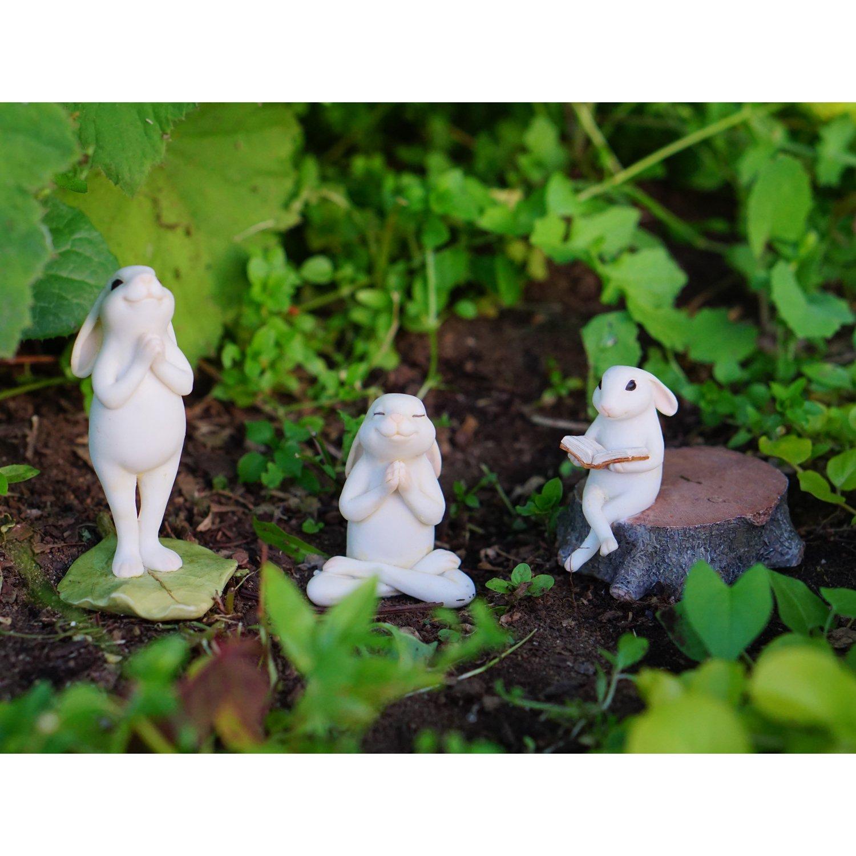 Amazon.com : Top Collection Miniature Fairy Garden U0026 Terrarium Bunny  Reading On Stump Statue, Small : Patio, Lawn U0026 Garden