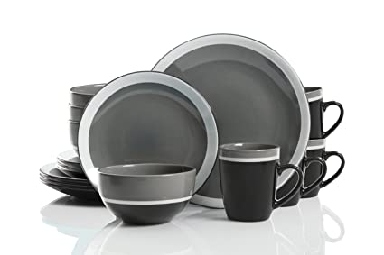 Studio California Color Eclipse 16 Piece Stoneware Dinnerware Set Grey  sc 1 st  Amazon.com & Amazon.com | Studio California Color Eclipse 16 Piece Stoneware ...