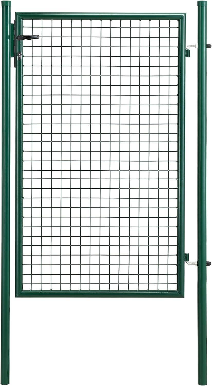 [pro.tec] Puerta de jardín galvanizado (200x106) Verde - Incluye Cerradura y 3 Llaves - Puerta de Valla