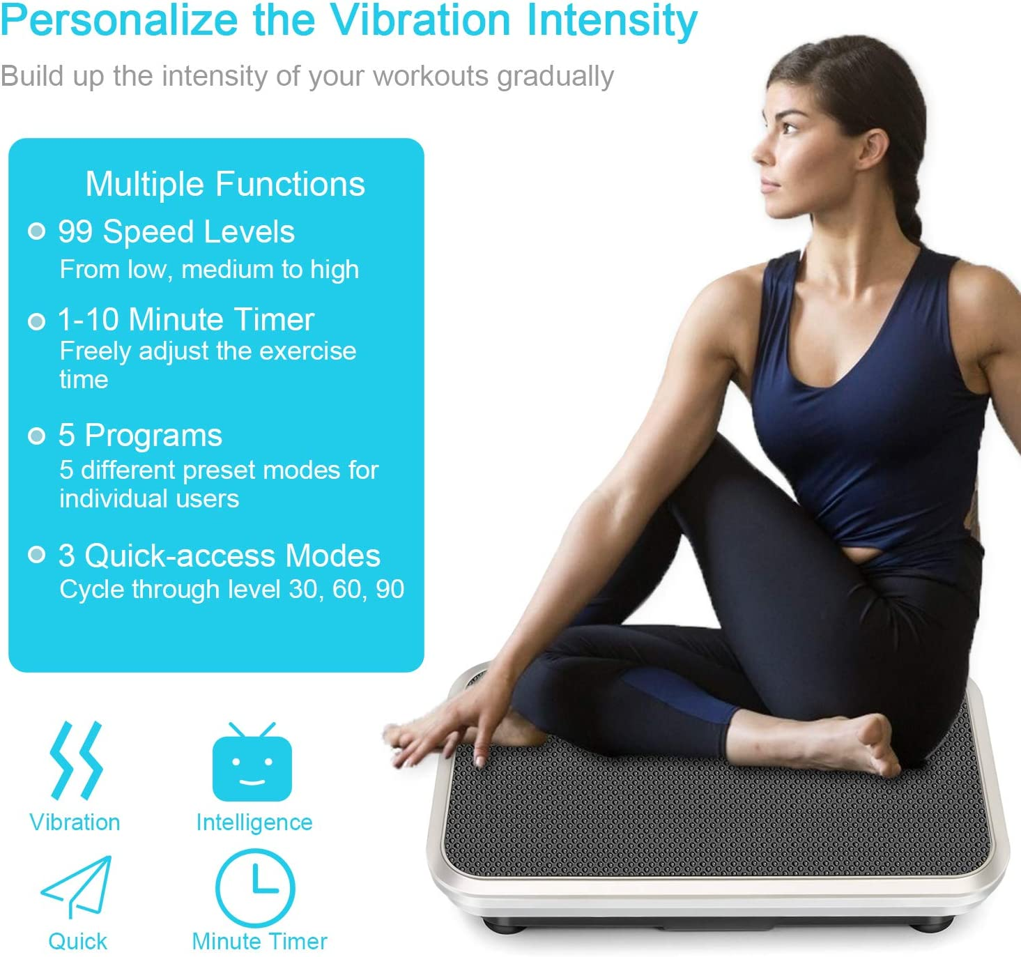 EveryMile Vibration Plate Exercise Machine,3D Motion Vibration Platform with Remote Control Resistance Bands, Full Whole Body Massage Vibration Workout for Home Fitness, Weight Loss, Toning Shaping