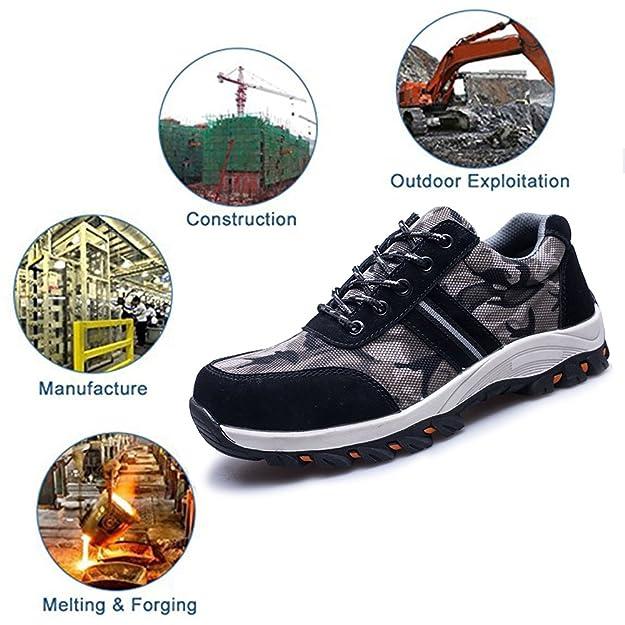 SITAILE Zapatos de Seguridad para Hombre Calzado de Trabajo con Punta de Acero Zapatillas Botas de Protección para Deporte Senderismo Industria,Negro,EU40: ...