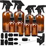 Glass Spray Bottle, ESARORA Amber Glass Spray Bottle Set - Essential Oils - Cleaning Products - Aromatherapy (16OZ x 2, 8OZ x 2, 4OZ x 2, 2OZ x 2)