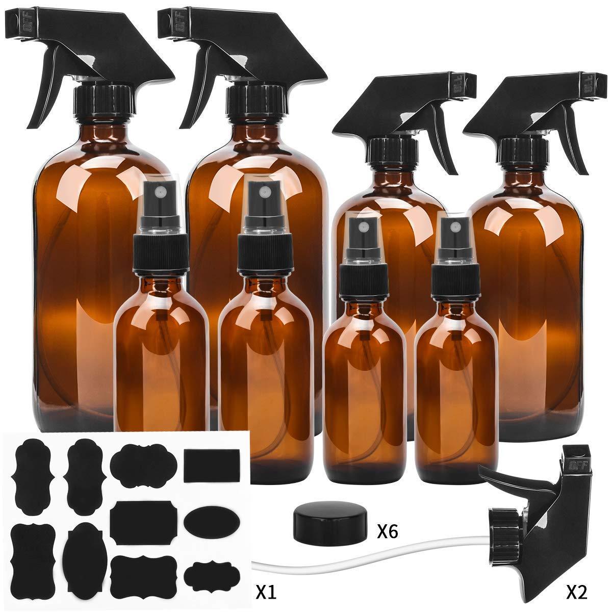 Glass Spray Bottle, ESARORA Amber Glass Spray Bottle Set - Essential Oils - Cleaning Products - Aromatherapy (16OZ x 2, 8OZ x 2, 4OZ x 2, 2OZ x 2) by Esarora