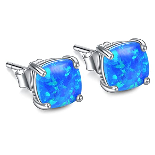 7595ea17a Image Unavailable. Image not available for. Color: Simulated Opal Earrings  Sterling Silver, Fire Opal Stud Earrings, Blue Opal Earring for Women