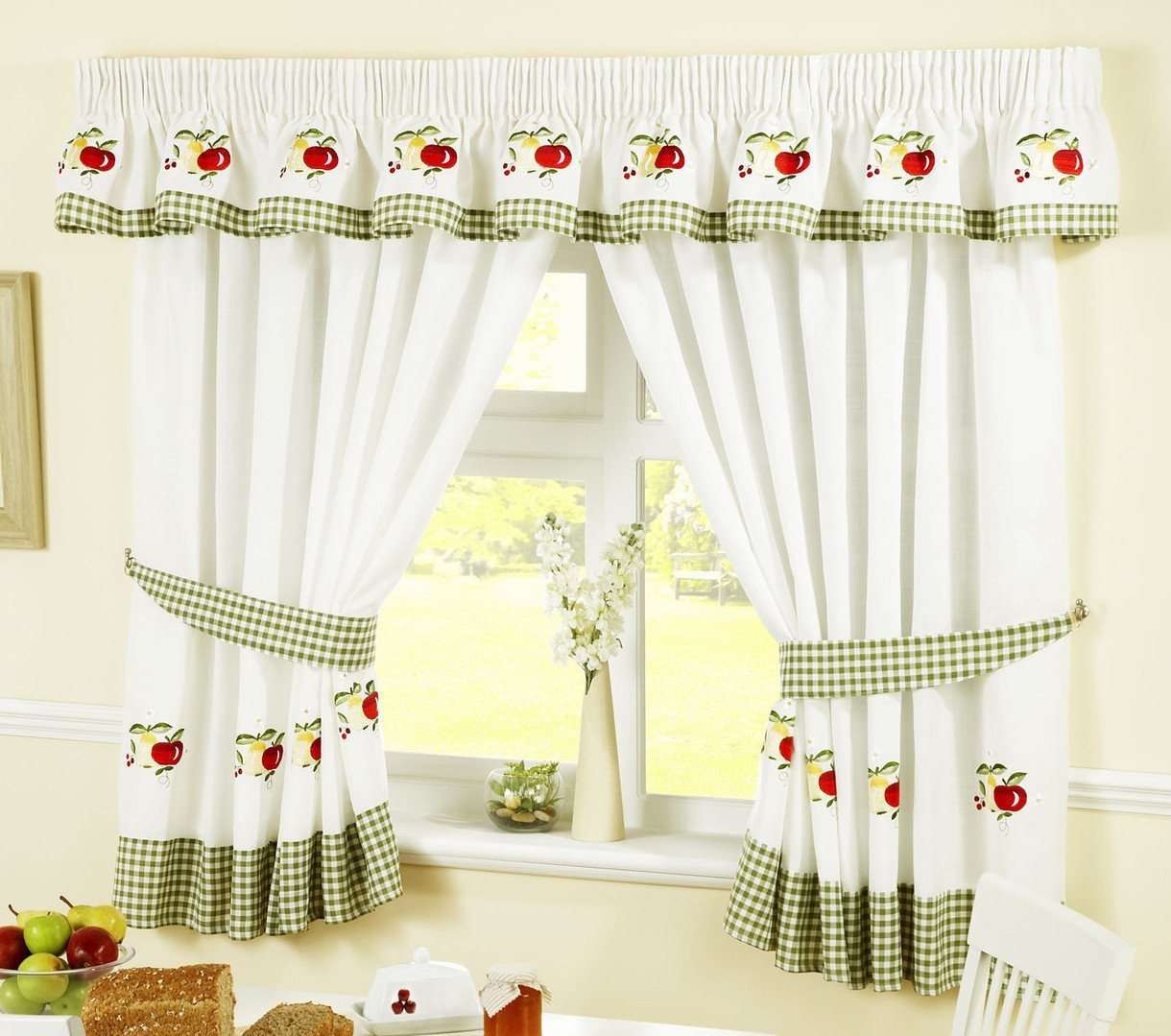 """APPLES AND PEARS GREEN RED GINGHAM KITCHEN CURTAINS W46"""" X L54"""" INC TIE BACKS"""
