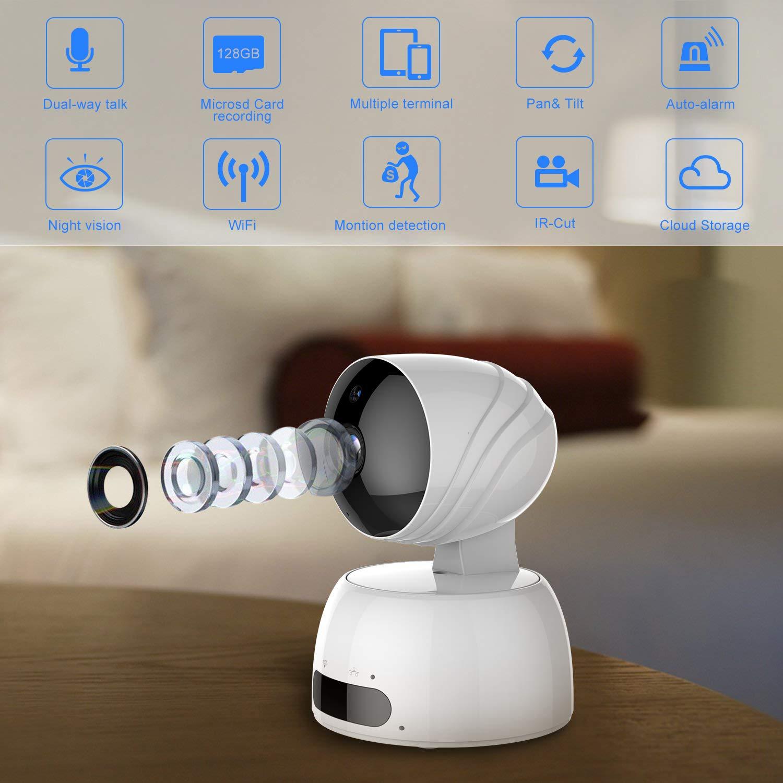 ROXTAK Cámaras de Vigilancias, 720P Cámara IP WiFi Inalámbrica con 360º Vista Panoramica, HD Visión Nocturna, Detección de Movimiento, Monitor para ...