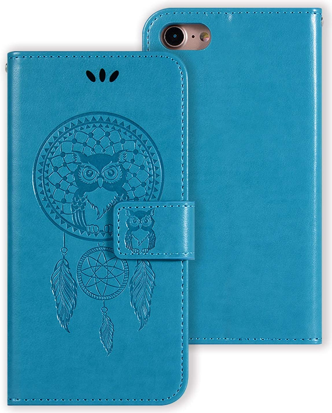 Vokuha Wallet Case for iPhone 6S Plus/iPhone 6 Plus for Girls Women | Magnetic Closure | Kickstand | Wrist Strap | Card Slots | Premium Leather | for iPhone 6S Plus/iPhone 6 Plus (Blue)