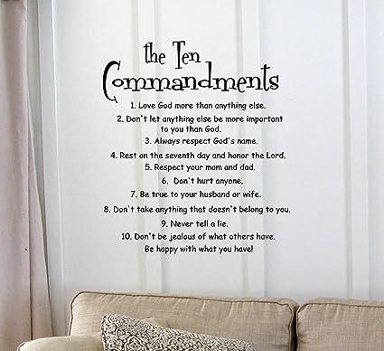 Amazon.com: The 10 Commandments Vinyl wall art Inspirational quotes ...