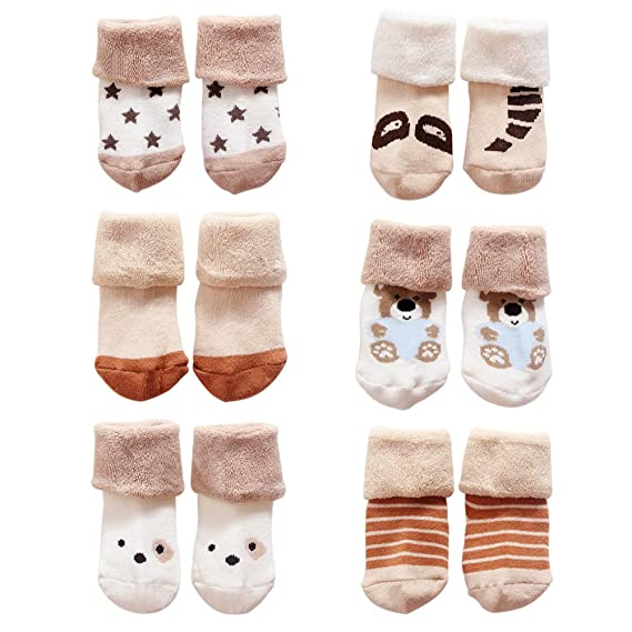 VWU Unisex Baby M/ädchen Jungen Socken Anti Rutsch Dick Baumwolle Kleinkind 6er Pack