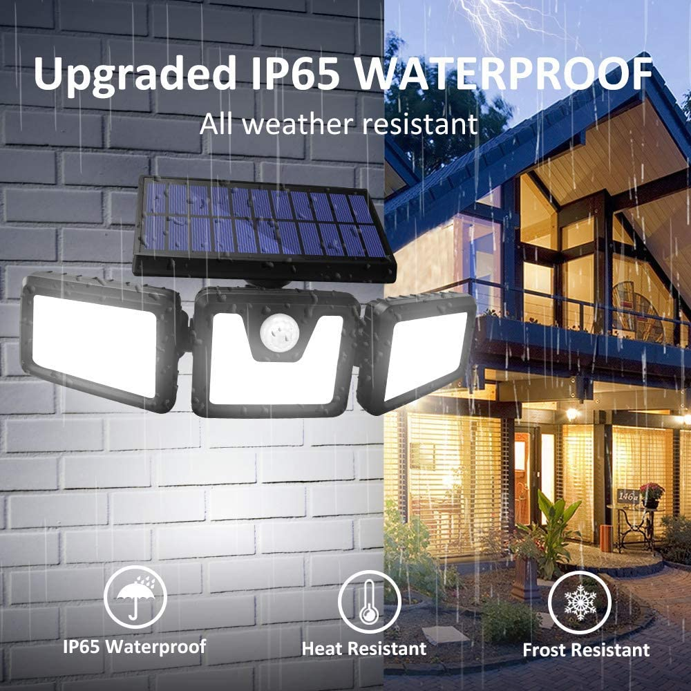 2 Pack Harmonic Solar Motion Sensor Lights Outdoor,70 LED Solar Security Lights Outdoor,Adjustable 3 Heads,/ IP65 Waterproof,800LM Flood Light for Yard,Garage,Garden,Patio