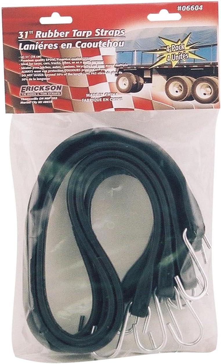 Pack of 4 Erickson 06602 15 Long Industrial EPDM Rubber Tarp Straps,