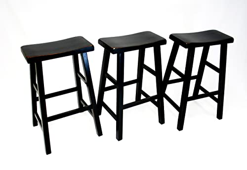 eHemco 29 Heavy Duty Saddle Seat Bar Stool in Antique Black, Set of 3