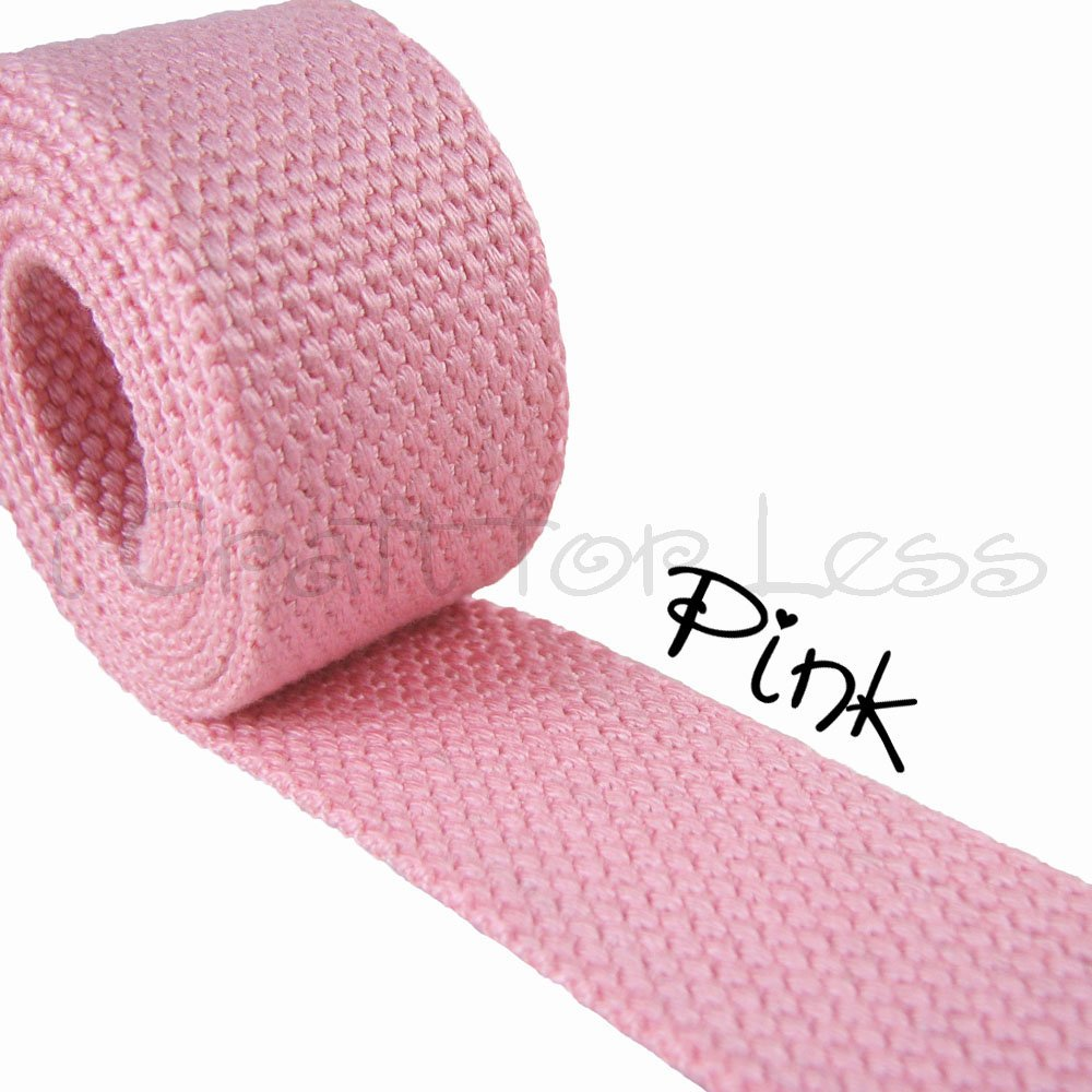 Pink 1 1//4 Medium Heavy Weight 5 Yard Cotton Webbing
