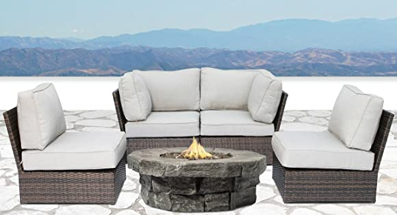 Century modern outdoor Lucca 5 PieceFire Pit Set collection Wicker Patio Resort Grade Furniture Sofa Set |