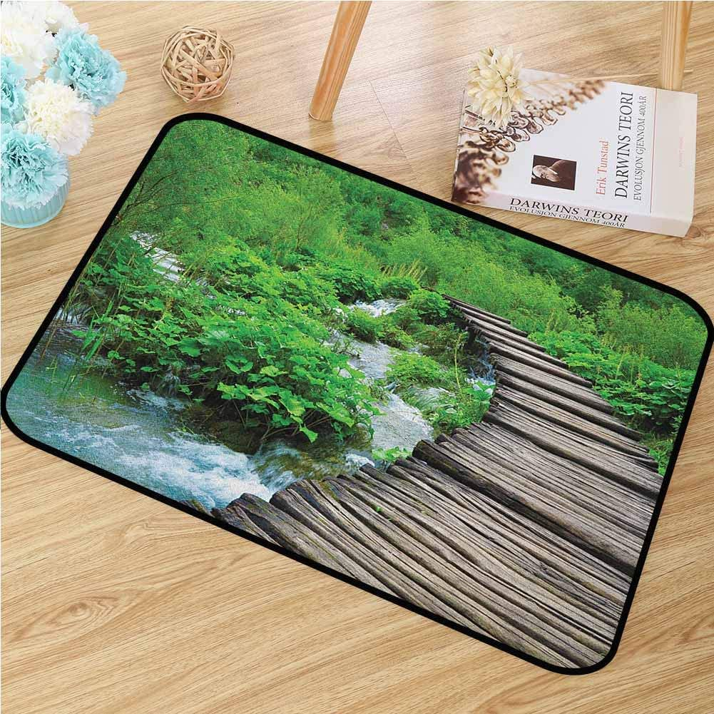 Forest Front Door mat Carpet Path and The Waterfall Board in Croatia Cascade Garden Lake Fence Peaceful View Machine Washable Door mat W19.7 x L31.5 Inch Brown Green