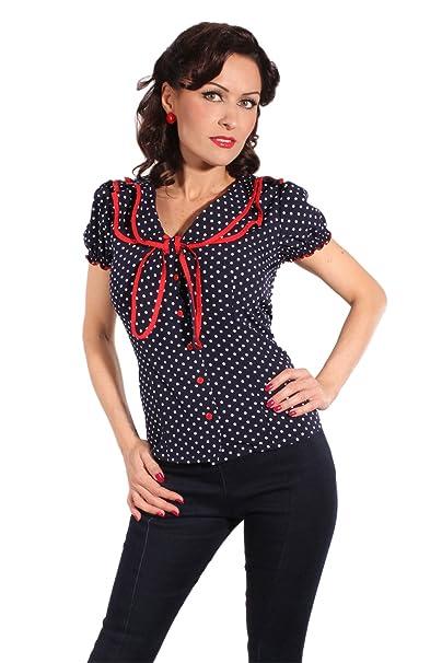 db3980fe9dde5d SugarShock Retro Style Polka Dots Rockabilly Puffärmel Schleife Retro Shirt  Bluse: Amazon.de: Bekleidung