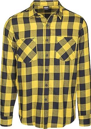 Urban Classics Camisa de Franela a Cuadros Hombre Camisa de Franela Negro/Amarillo, Regular: Amazon.es: Ropa y accesorios