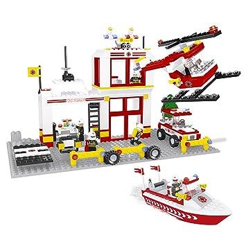 Ausini Juego de construcción brigada, helicóptero y barco Bomberos ...