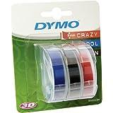 Dymo-Prägeetiketten (selbstklebend, 9mm x 3m) 3er Pack blau/schwarz/rot