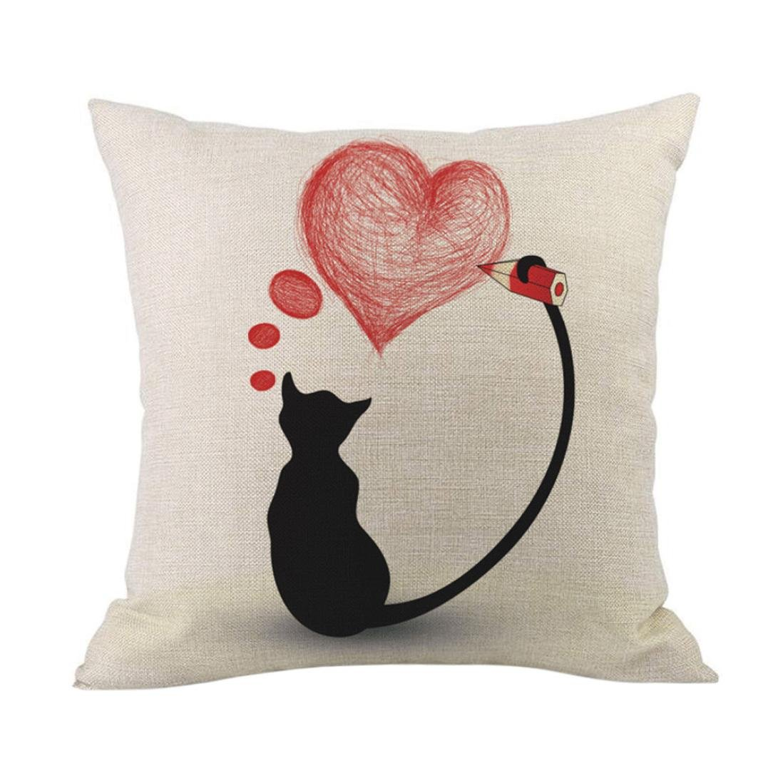 Valentine's Day Gift Pillow Cases Cotton Linen Sofa Cushion Cover Pillow Cover Home Decor (B)