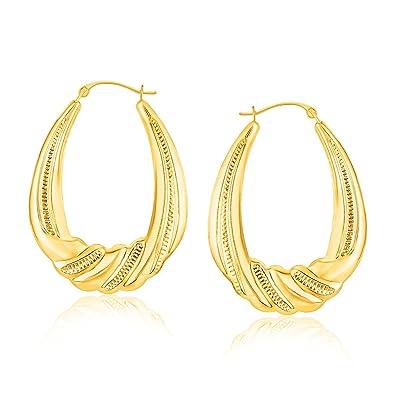 14k Yellow Gold Textured Oval Hoop Earrings