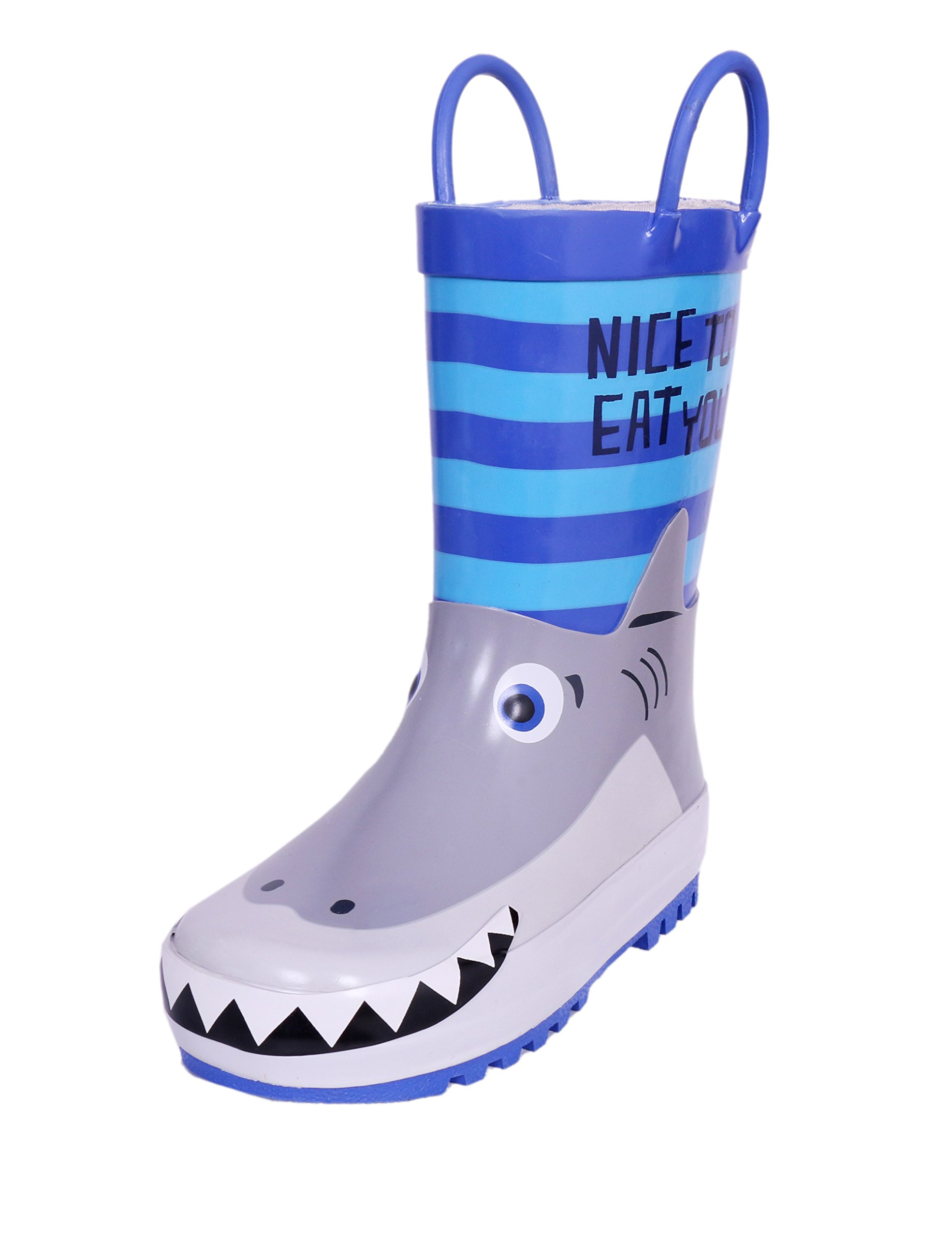 Little Kids Natural Rubber Rain Boots Easy-On Handles Boys, 3D Printed Shark, Size 11