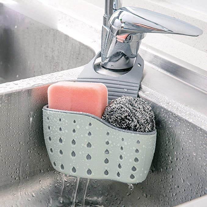 Sink Drain Filter Basket Strainer Shelf Storage Sponge Soap Holder Organizer
